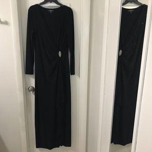Ralph Lauren 14 black long sleeve gown